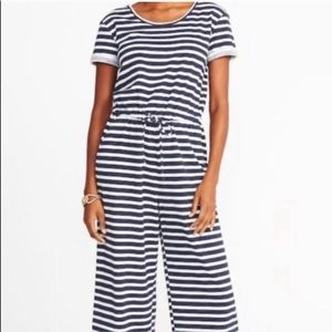 Old Navy blue/white stripe jumpsuit - size M tall